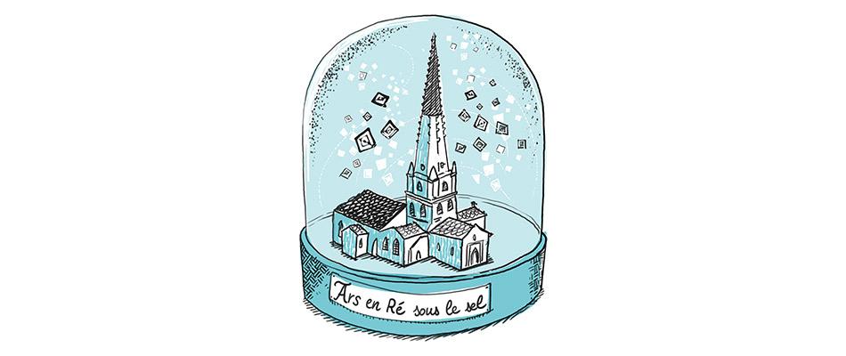 Illustration boule à neige Ars en Ré sous le sel