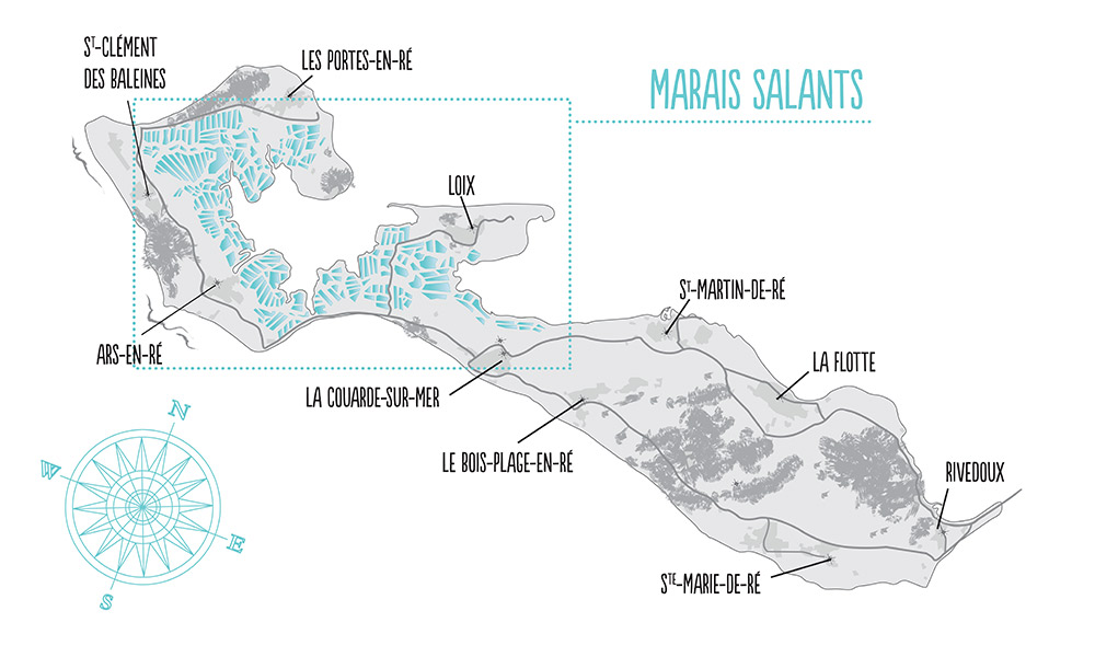 Carte de l'île de Ré et ses marais salants